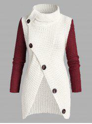 Plus Size Turtleneck Buttoned Front Slit Chunky Sweater -