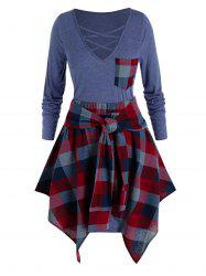 Plus Size Lattice Pocket Tee Dress with Handkerchief Plaid Skirt Set -