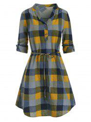 Half Button Plaid Print Belted Dress -