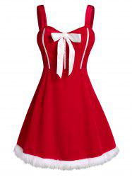 Plus Size Velvet Christmas Faux Fur Hem Bowknot Dress with G-string -