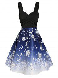 Crossover Sun and Moon Print Dress -