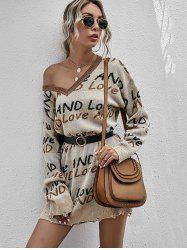 V Neck And Love Graphic Distressed Sweater Dress -