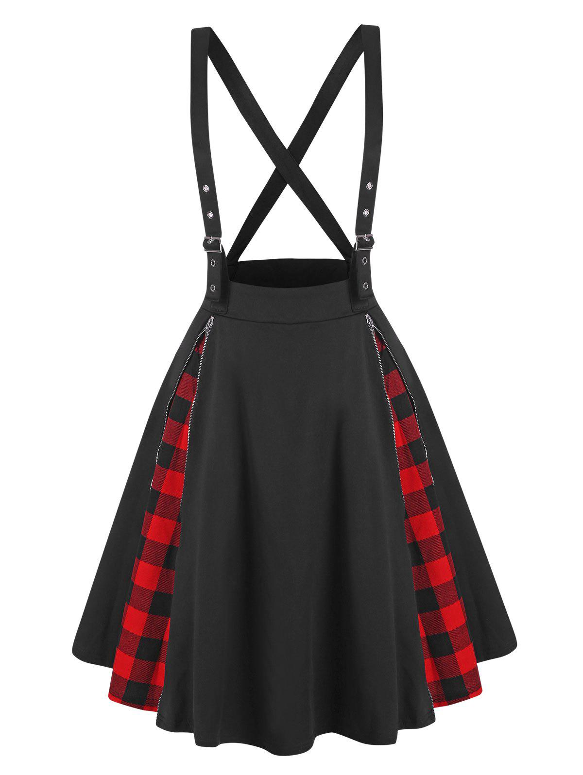 Affordable Plaid Panel Zippered Criss Cross Suspender Skirt