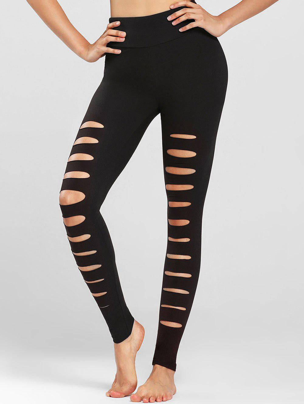 Online Distressed Wide Waistband Footless Leggings