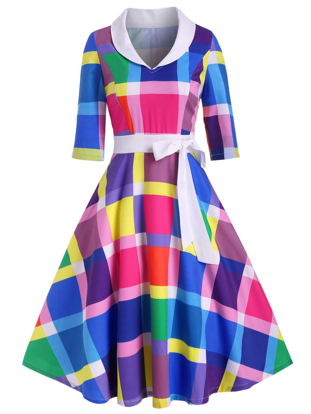 Hot Bowknot Rainbow Plaid Side Zipper Vintage Dress
