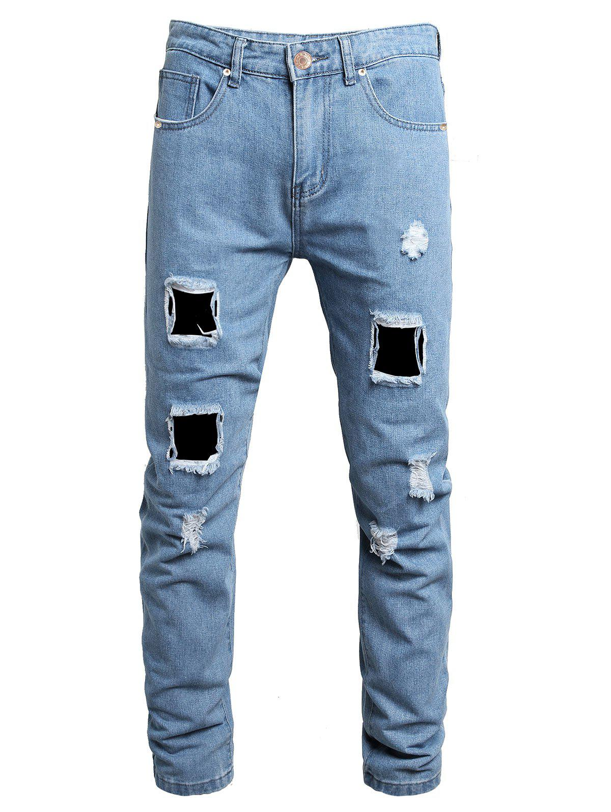 Store Destroy Wash Ripped Long Jeans
