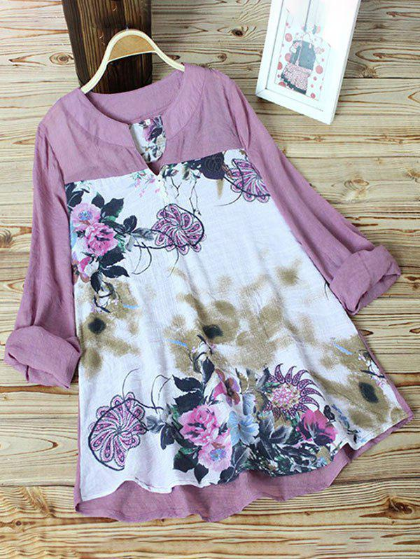 Shops Plus Size High Low Floral Print Top