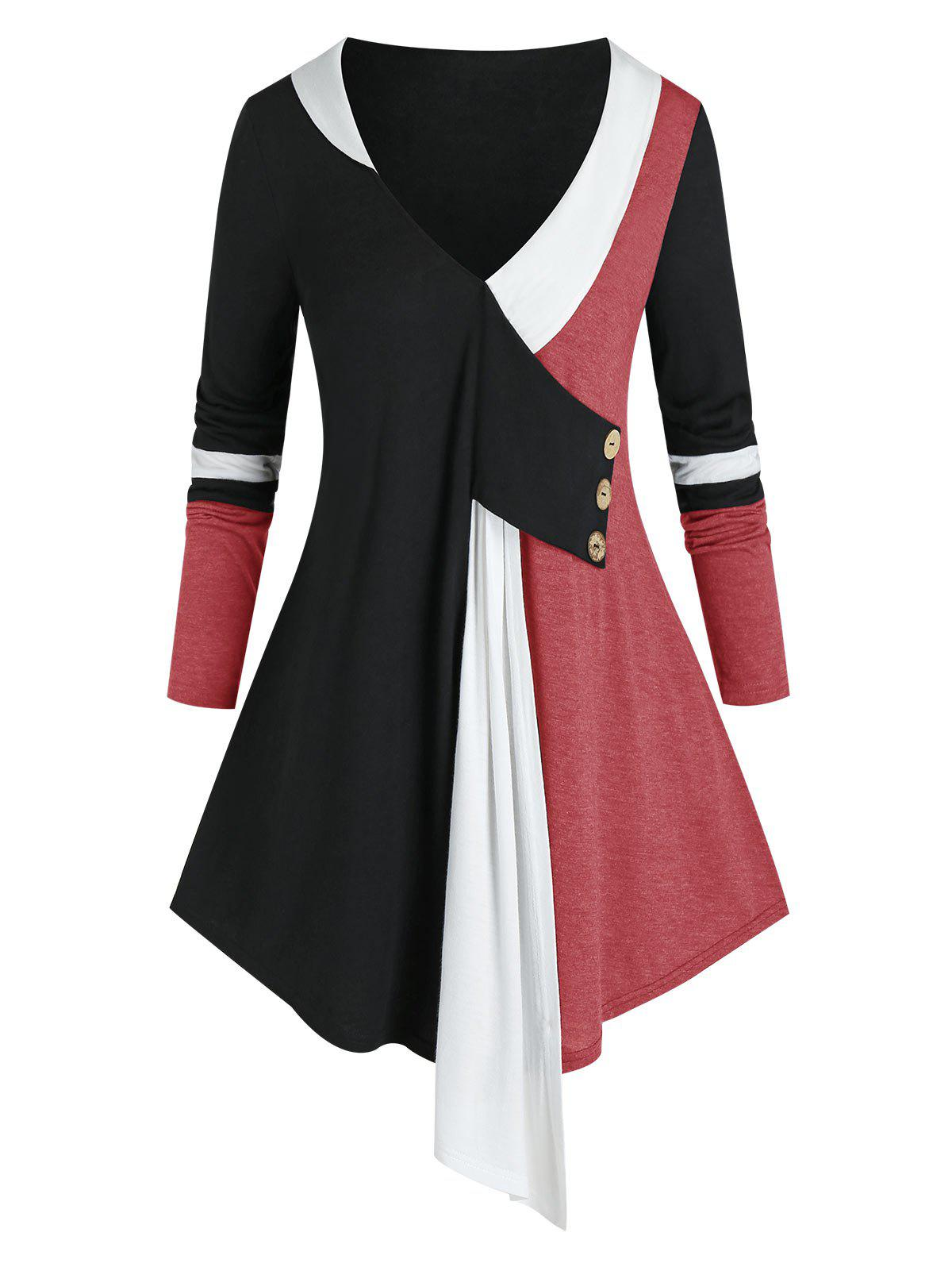 Store Plus Size Colorblock Plunging Long Sleeve Tunic Tee