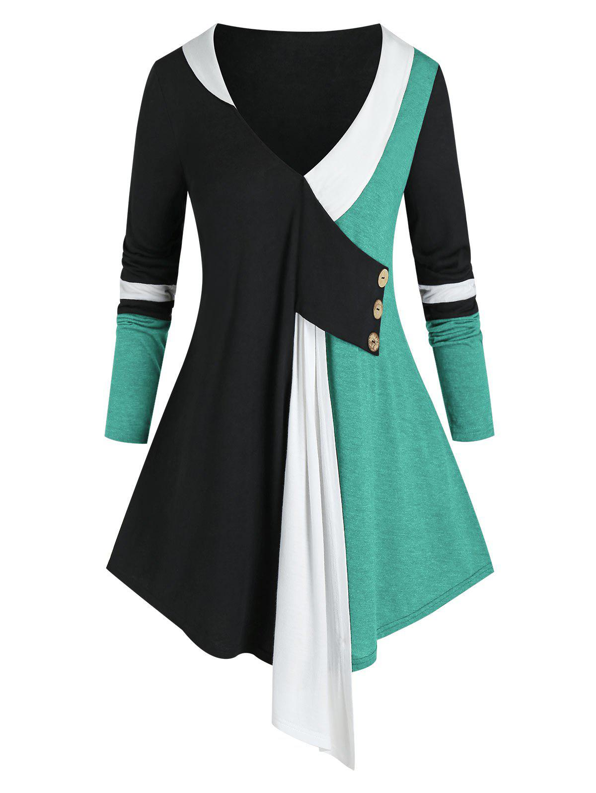 Trendy Plus Size Colorblock Plunging Long Sleeve Tunic Tee