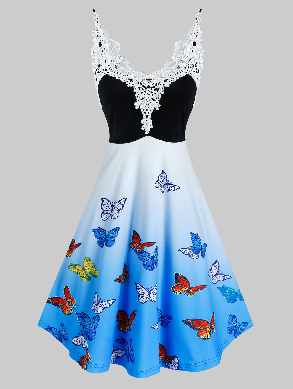 Fashion Lace Insert Ombre Color Butterfly Print Dress