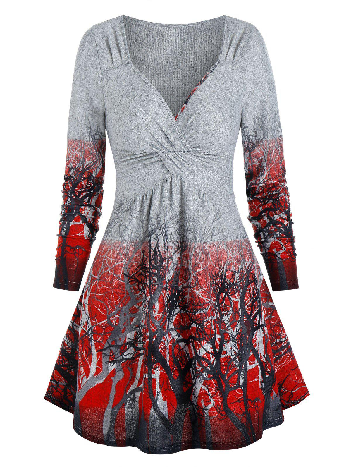 Outfits Trees Print Twist Front Long Sleeve Dress