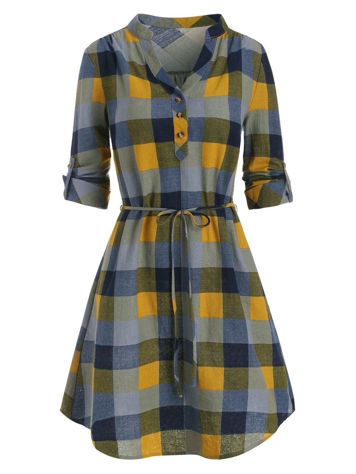 Cheap Half Button Plaid Print Belted Dress