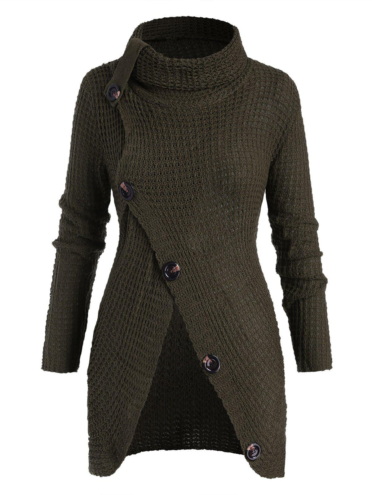 Shops Plus Size Turtleneck Buttoned Front Slit Chunky Sweater