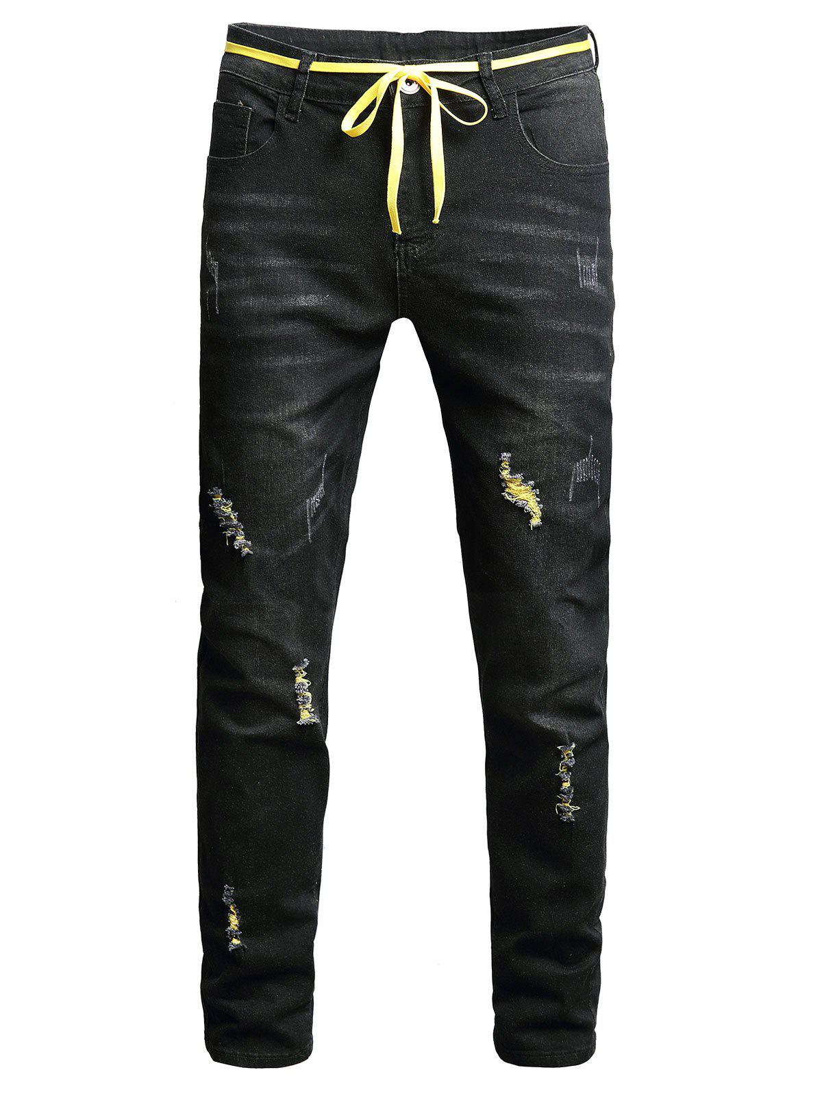 Online Long Zip Fly Ripped Jeans