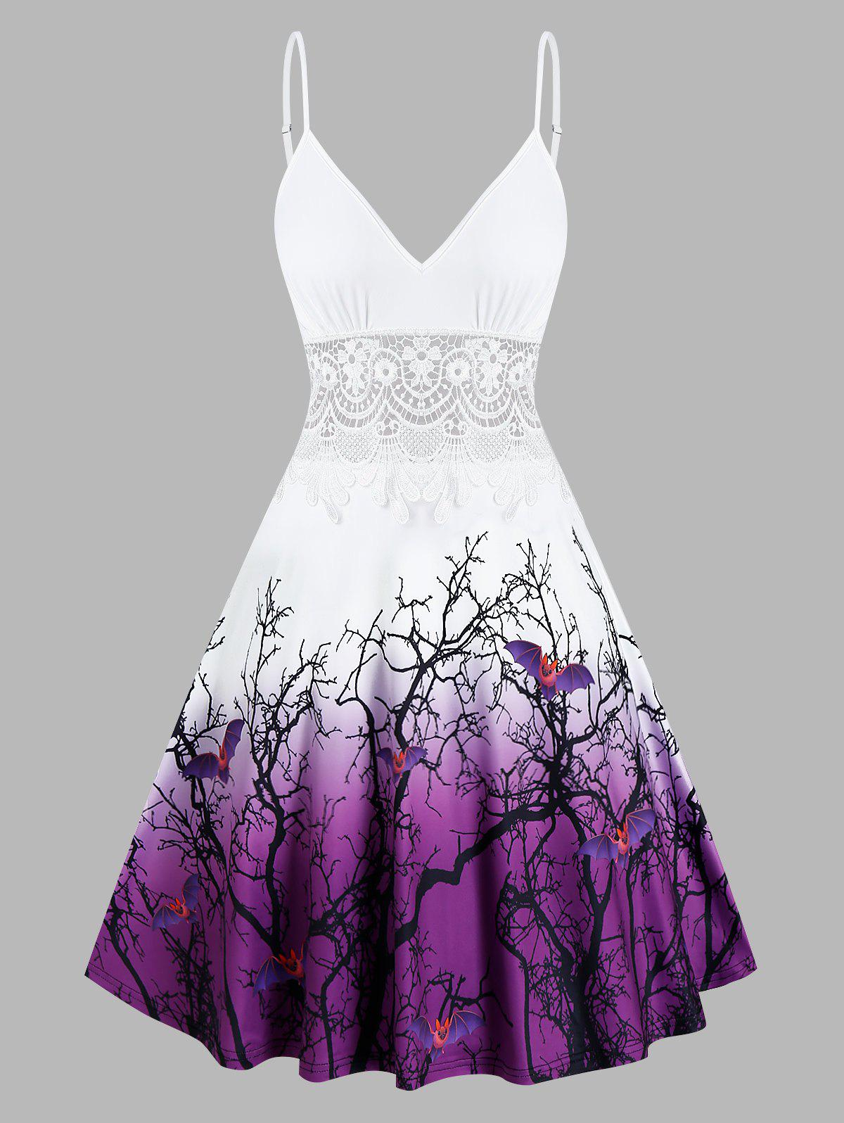 Halloween Tree Bats Print Lace Insert Flare Dress