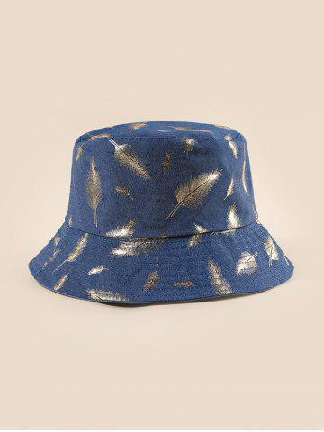 Feather Foil Print Denim Bucket Hat