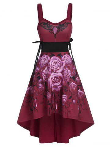 Sleeveless Flower Print Lace-up High Low Gothic Dress - RED WINE - 2XL