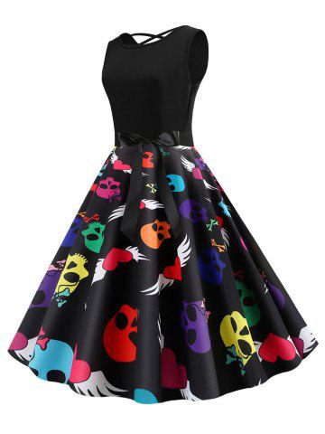 Skull Print Heart Belted Lattice Halloween Dress