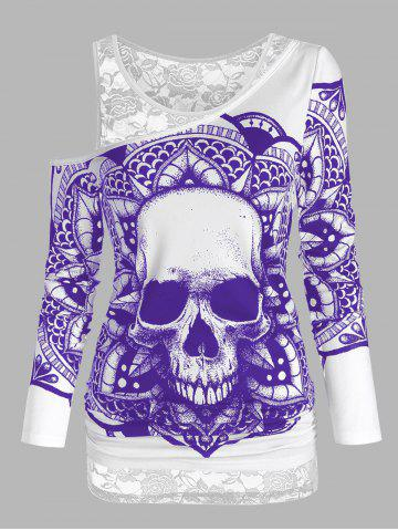 Skull Graphic Cold Shoulder Two Piece T Shirt Sets - PURPLE IRIS - L