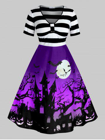 Robe Pin Up d'Halloween Vintage Imprimée de Grande Taille - PURPLE IRIS - L