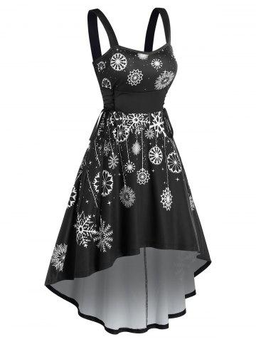 Snowflake Printed Side Lace Up Flare Dress