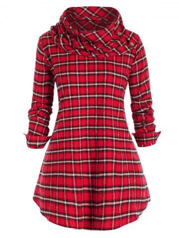 Plus Size Plaid Cowl Neck Tunic Pullover Blouse - RED WINE - 1X