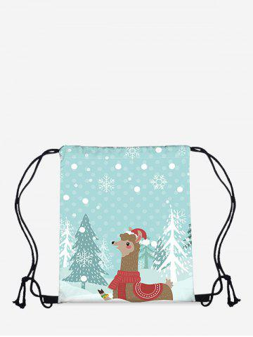 Christmas Cartoon Alpaca Digital Print Cinch Bag