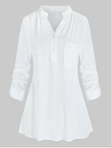 Brief Button Pocket Notched Collar Blouse - WHITE - M