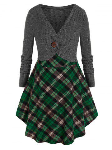Plus Size Contrast Plaid Skirted Mixed Media Tunic Sweater