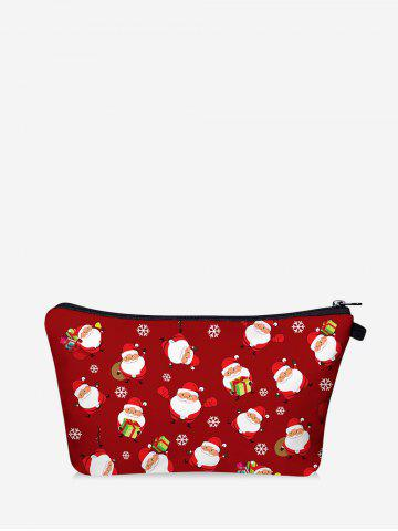 Christmas Santa Printing Storage Makeup Bag - RED