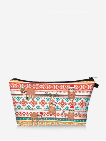 Christmas Animal Snowflake Digital Print Storage Makeup Bag - CHESTNUT RED