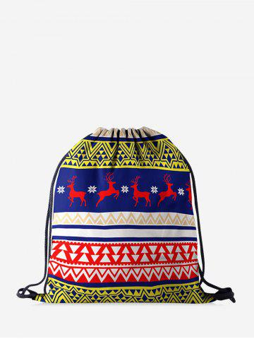 Christmas Geometric Elk Digital Print Cinch Bag