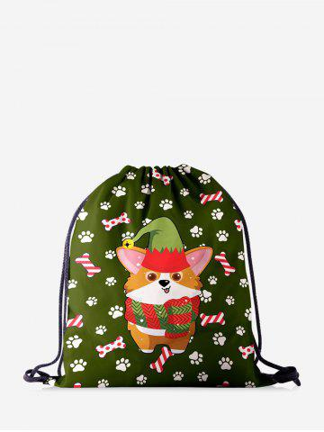 Christmas Cartoon Corgi Dog Print Cinch Bag - JUNGLE GREEN