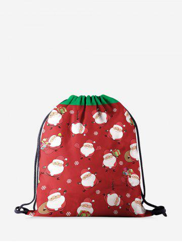 Christmas Cartoon Santa Claus Digital Print Cinch Bag