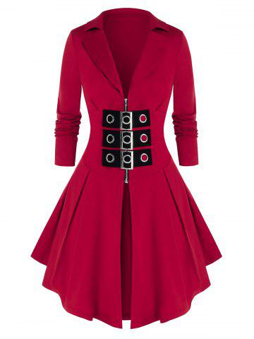 Plus Size Zip Front Buckles Skirted Coat - RED WINE - L