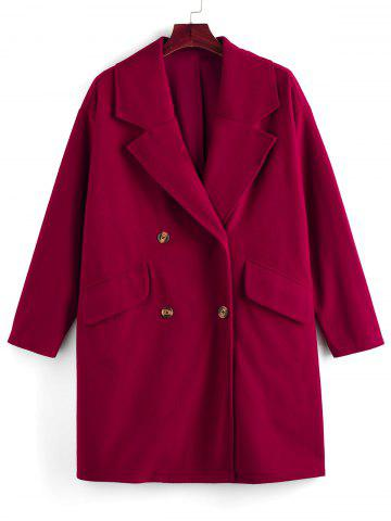 Plus Size Double Breasted Turndown Collar Straight Coat