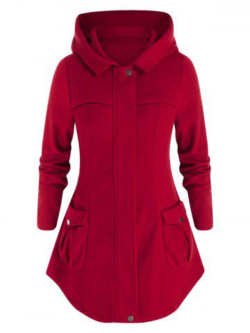 Plus Hooded Pockets Size Woollen Coat - FIREBRICK - 5X