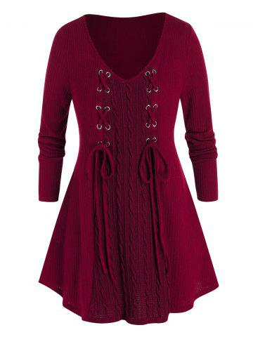 Plus Size Lace Up Cable Knit Sweater - RED WINE - 5X