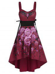 Sleeveless Flower Print Lace-up High Low Gothic Dress -