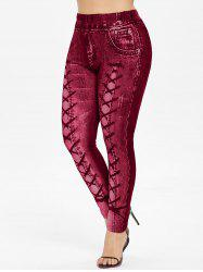 Plus Size High Waisted 3D Printed Leggings -