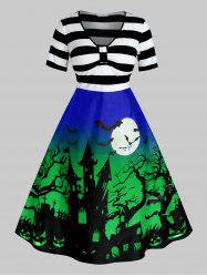 Plus Size Halloween Printed Vintage Pin Up Dress -