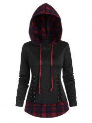 Plaid Panel Lace-up High Low Hoodie -