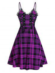 Lace Up Plaid Fit and Flare Dress -