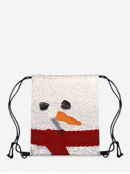 Christmas Snowman Digital Print Cinch Bag -