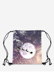 Christmas Moon Elk Digital Print Cinch Bag -