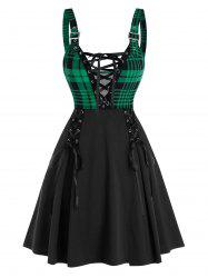 Sleeveless Plaid Print Lace-up Front Buckle Strap Dress -
