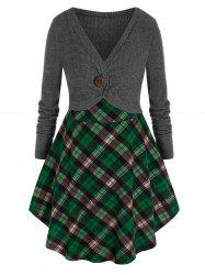 Plus Size Contrast Plaid Skirted Mixed Media Tunic Sweater -