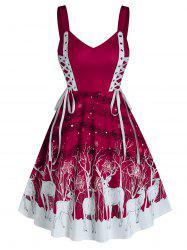 Christmas Lace Up Elk Print Fit and Flare Dress -