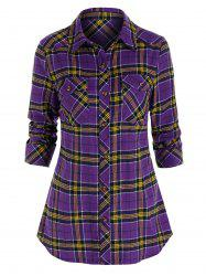 Plaid Print Button Up Double Pockets Shirt -