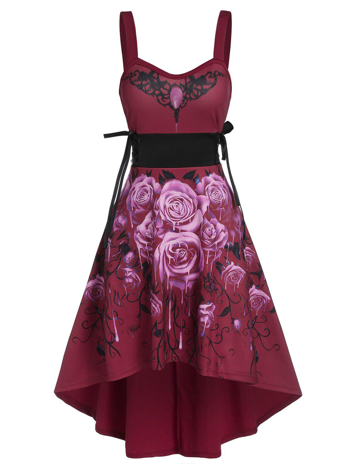 Fancy Sleeveless Flower Print Lace-up High Low Gothic Dress